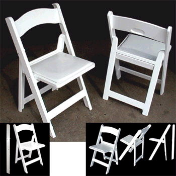 White Resin Chairs W Padded Seat Rentals Louisville Ky